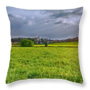 Fields Of Rapeseed In Lower Silesia Throw Pillow