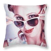 Fifties Glamor Girl Wearing Retro Pin-up Fashion Throw Pillow