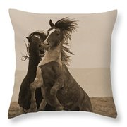 Fighting Wild Stallions Throw Pillow