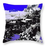 Film Homage Arizona 1940 Publicity Photo Cattle Drive Main Street Old Tucson 1940-2008 Color Added Throw Pillow