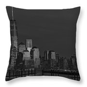 Financial District In New York City At Twilight Throw Pillow