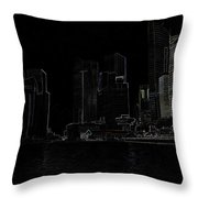 Financial District Of Singapore And View Of The Water Throw Pillow