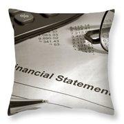 Financial Statement On My Desk Throw Pillow