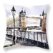 Fine Art Drawing The Tower Bridge In London Uk Throw Pillow