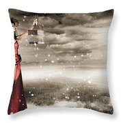 Fine Art Photo Of A Beautiful Winter Fashion Woman Throw Pillow