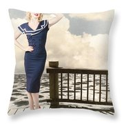 Fine Art Vintage Pin-up. Vacation Departure Dock Throw Pillow