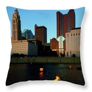 Fire On The River Throw Pillow