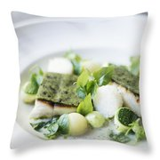 Fish Fillet With Herb Topping And Vegetables Throw Pillow