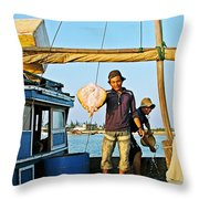 Fisherman With A Skate On Thu Bon River In Hoi An-vietnam  Throw Pillow