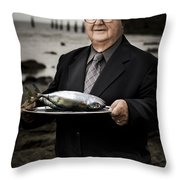 Fishing And Consumption Throw Pillow