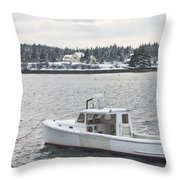 Fishing Boat After Snowstorm In Port Clyde Harbor Maine Throw Pillow
