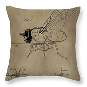 Fishing Fly Patent Throw Pillow
