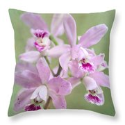 Five Beautiful Pink Orchids Throw Pillow