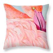 Female Flamingo In The Bahamas Throw Pillow