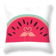 Flamingo Watermelon Throw Pillow
