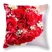 Floral Rose Boquet Held By Bride Throw Pillow