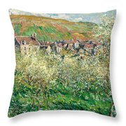Flowering Plum Trees Throw Pillow