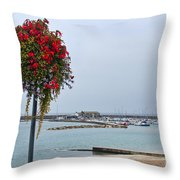 Flowers Along The Seafront Throw Pillow