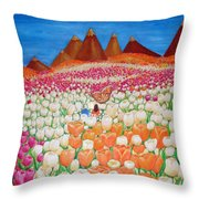 Flowers And Fields Alive With Thy Joy Throw Pillow