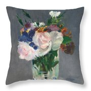Flowers In A Crystal Vase Throw Pillow