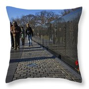 Flowers Left At The Vietnam War Memorial Throw Pillow