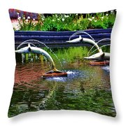 Flying Dolphins Throw Pillow