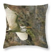 Flying Great Egret Throw Pillow