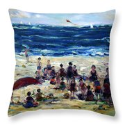 Flying A Kite At The Beach Throw Pillow