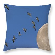 Flying To The Moon Throw Pillow