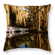 Footbridge Over Swamp, Magnolia Throw Pillow