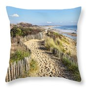 Footpath On The Atlantic Dune In Brittany Throw Pillow