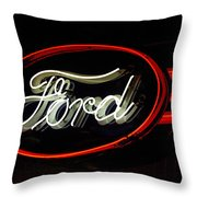 Ford Neon Sign Throw Pillow