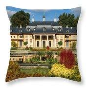 Formal Garden In Front Of A Castle Throw Pillow