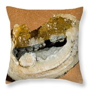 Fossil Clam With Calcite Crystals Throw Pillow