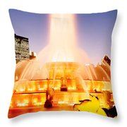Fountain Lit Up At Dusk, Buckingham Throw Pillow