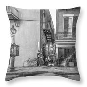 French Quarter Trio - Paint Bw Throw Pillow