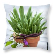 Green Beans In Pot Throw Pillow