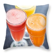 Fresh Orange Carrot And Watermelon Fruit Juice Throw Pillow