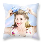 Friendly Female Pin-up Wearing Hair Accessories  Throw Pillow