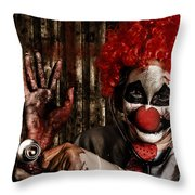 Frightening Clown Doctor Holding Amputated Hand  Throw Pillow
