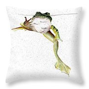 Frog On Waterline Throw Pillow