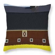 Front Of A Red Barn In A Flowering Throw Pillow