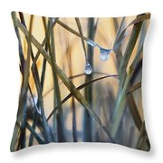 Frozen Raindrops Impasto Throw Pillow
