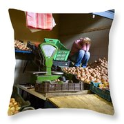 Fruit Stand Woman Throw Pillow