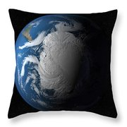 Ful Earth Showing Simulated Clouds Throw Pillow by Stocktrek Images