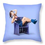 Full-length Portrait. Lovely Woman In Denim Dress Throw Pillow