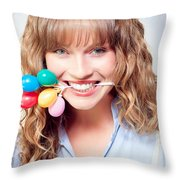 Fun Party Girl With Balloons In Mouth Throw Pillow