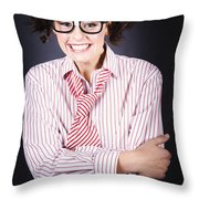 Funny Female Business Nerd With Big Geeky Smile Throw Pillow