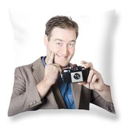 Funny Man Gesturing Big Smile With Vintage Camera Throw Pillow