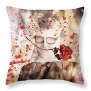 Funny Valentine Nerd Caught In Net Of Romance  Throw Pillow